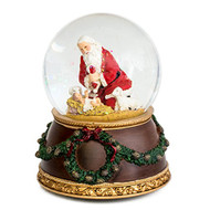 Kneeling Santa Baby Jesus 6 Inch Holiday Water Globe Plays Tune Silent Night