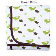 JJ Cole Receiving Blanket - Green Birds