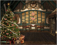 Christmas cottage photography backdrop