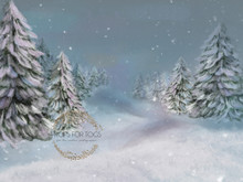 Exclusive to Props for Togs - digitally created in Photoshop handpainted snow fir trees - simple, elegant add some cushion stuffing to the ground to create a magical Christmas snow scene.