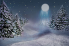 Watercolour night Christmas fir tree pastel photographer backdrop