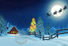 Night scene with Santa flying photographer backdrop