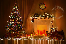 Real Christmas tree with fire night scene with fairy lights photographer backdrop