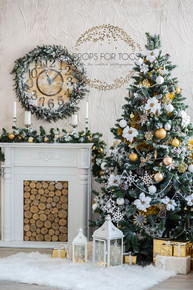 Daylight Real indoor Christmas Tree with log fire and white walls photographer backdrop