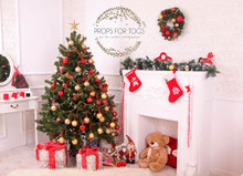 Cosy white room with Christmas tree photographer backdrop