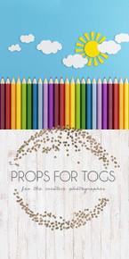 School pencils & floor photographer backdrop
