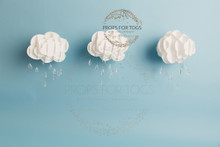 paper 3D clouds with glass crystal raindrops  photographers backdrop, can be bought with same blue floor attached or purchased separately