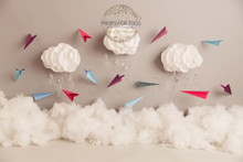 cute little clouds and paper planes backdrop
