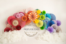 fan colourful backdrop with no floor .. please say if you would like no floor and landscape design when ordering