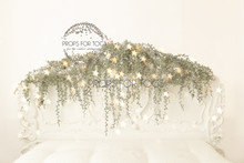 Christmas white bed scene with gold bokeh stars and moss garland 9080   - Designs by Honey Pie photography  - photographers backdrops  .