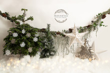 festive green, white and silver Christmas backdrop 9058 .. this is available with no floor, just the wall in landscape design as seen here