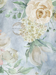 Beautiful Pastel floral painted photographers backdrop-  Photography Backdrop shades of blues, greens and cream 001-  photographers backdrop-  Photography Backdrop  The size shown is 60 x 80 and other sizes will be cropped, please contact us if you have any questions  matching Floor area is available to match