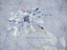 Beautiful Pastel floral painted photographers backdrop-  Photography Backdrop shades of blues, lilacs 004  -  photographers backdrop-  Photography Backdrop  The size shown is 60 x 80 and other sizes will be cropped, please contact us if you have any questions  matching Floor area is available to match