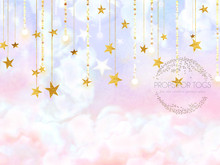 Stars and clouds  pastel photographers backdrop-  Photography Backdrop  size shown is 60 x 80 and is landscape design.. please contact us  if you need a different portrait design