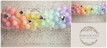Delicate pastel shade rainbow balloon garland photographers backdrop This is availabe as just a wall in a landscape style... or with a floor added ready for your shoots Portrait Please say in your notes which you would like portrait or landscape, with a floor or without