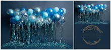 Beautiful Blue and silver balloon garland perfect for boy and girls cake smashes This is availabe as just a wall in a landscape style... or with a floor added ready for your shoots Portrait Please say in your notes which you would like portrait or landscape, with a floor or without
