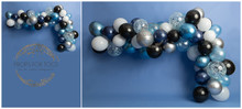 sky Blue, silver & white balloon garland 3122This is availabe as just a wall in a landscape style... or with a floor added ready for your shoots Portrait Please say in your notes which you would like portrait or landscape, with a floor or without