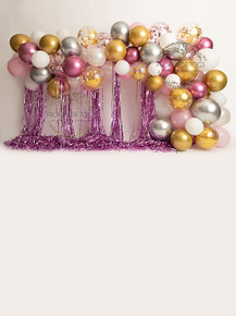Dusty pink, gold and silver balloon garland 7260  . Designs by Honey Pie photography   -  photographers backdrops .choose with or without the floor attached please say in the notes . available like this with a floor attached in portrait design