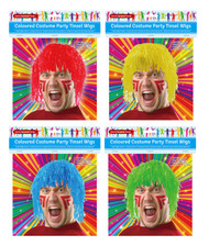 SC003 Tinsel Wigs $1.40 plus GST Get wiggy with it and make a statement in one of our brightly coloured tinsel wigs!  One size fits all.  Available in 4 colours: red, blue, green and yellow.  New product.