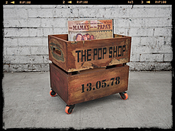 Wooden Storage Crate Record Crates On Castor Wheels
