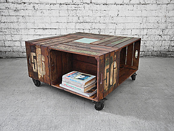 Coffee Table Online Wooden Crates On Castor Wheels