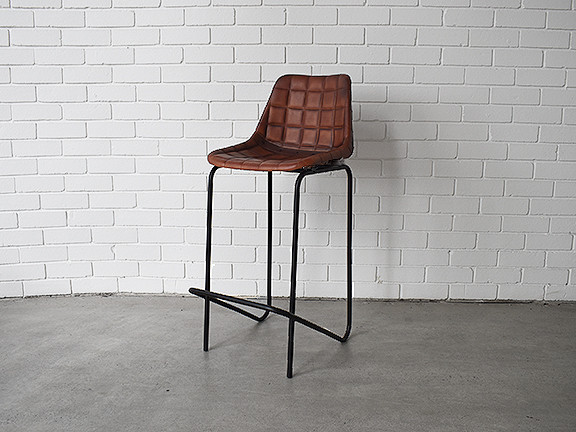 Industrial Leather Bar Chair. Loading Zoom