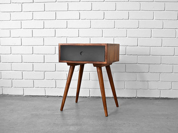 Iris Bedside Table with Black Drawer