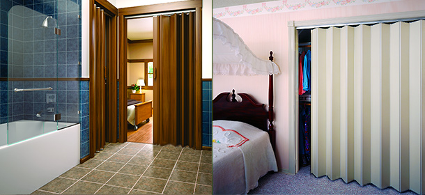 Accordian doors and accordion folding doors for all residential interior door applications.