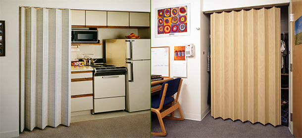 Interior doors, sliding accordion doors, and closet doors.