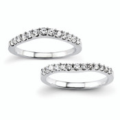 14k White Gold Set of 2 White Gold Diamond Wedding Bands Band Ring Y8419WAA-Lex and Lu