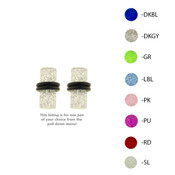 Pair of Acrylic UV Sensitive Glitter Ear Plugs w/O-Rings 10G Thru 0 Gauge-Lex and Lu