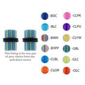 Pair of Acrylic UV Sensitive Layered Ear Plugs w/O-Rings 10G-0Gauge-Lex and Lu