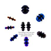 Pair of Steel Plated Ear Plugs Earlet Gauges w/Round Ends 10G-00 Gauge-Lex and Lu