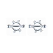 Pair of Steel Barbell w/Nipple Shields Rings w/Gems, 14 Gauge-101-Lex and Lu