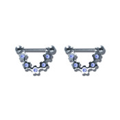 Pair of Steel Barbell w/Nipple Shields Rings w/Gems, 14 Gauge-104-Lex and Lu