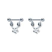 Pair of Steel Barbell w/Nipple Shields Rings, 14 Gauge-111-Lex and Lu