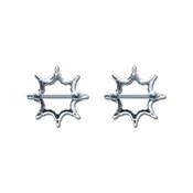Pair of Steel Barbell w/Nipple Shields Rings, 14 Gauge-112-Lex and Lu
