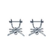 Pair of Steel Barbell w/Nipple Shields Rings, 14 Gauge-114-Lex and Lu
