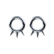 Pair of Steel Seamless Segment Rings w/Spikes 10 Thru 6 Gauge-Lex and Lu