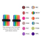 Pair of Acrylic UV Sensitive Layered Ear Plugs w/O-Rings 10G-0 Gauge-Lex and Lu