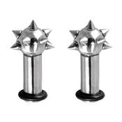 Pair Of Steel Ear Plugs Earlet Gauges W/Spikes on End 8G-4 Gauge-Lex and Lu
