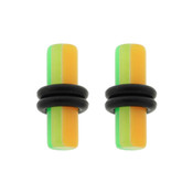 Pair of Acrylic UV Sensitive Layered Ear Plugs w/O-Rings 10G-6Gauge-Lex and Lu