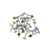 Body Jewelry 20 Pack Assorted Acrylic Labrets w/Spikes 16G 3/8""
