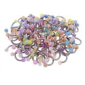 Body Jewelry 10 Pairs Assorted Acrylic Circular Barbells w/Balls 14G 3/8""