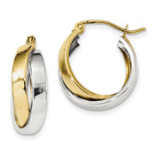 10k Two-tone Gold Polished Double Hoop Earrings 10ER287-Lex and Lu