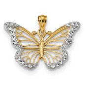 14k Yellow Gold & Rhodium D/C Polished Open Butterfly Pendant K5985-Lex and Lu