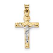 14k Two-tone Gold Crucifix Pendant K6294-Lex and Lu