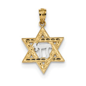 14k Yellow Gold w/Rhodium Star of David w/Chai Pendant K6373-Lex and Lu
