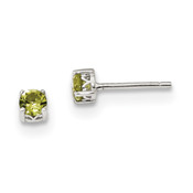 Sterling Silver 4mm Round Peridot Post Earrings QBE26AUG-Lex and Lu
