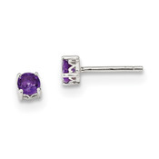 Sterling Silver 4mm Round Amethyst Post Earrings QBE26FEB-Lex and Lu